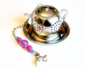 Hummingbird Tea Infuser with Pink & Purple Beads, Teapot Tea Ball Infuser, Beaded Mesh Tea Ball, Mad Hatter Tea Party,  High Tea, Tea Gift