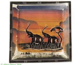 Stone Plate Kisii Elephants Square Kenya Africa 6 Inch 103298