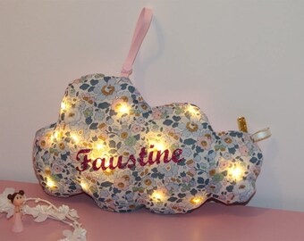 LED night light cloud liberty Betsy denim personalized with name