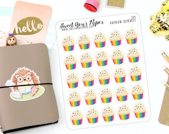 Cupcake Planner Stickers - Rainbow Planner Stickers - Birthday Planner Stickers  - Event Planner Stickers - 224