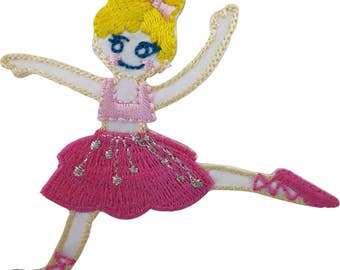 Ballerina Iron On Patch Sew On Badge Embroidered Pink Ballet Tutu Pointe Shoes