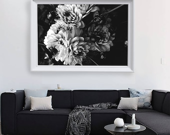 Black and White Dahlia Print - Printable Wall Art - Floral Poster - Instant Download Printable Art - Black and White Modern Flower Art Print