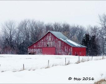 Winter Barn Print - Barn Photography - Barn Photo -  Red Barn Photo - Landscape Photography - Winter Landscape