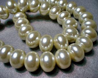 Glass Pearls Cream  Rondelle 12x8mm