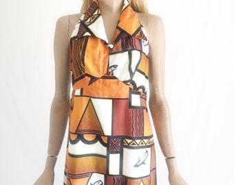 Vintage 60s Hawaiian Maxi Dress