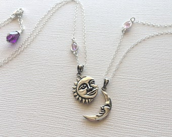 Sun and Moon Jeweled Necklace Set in Sterling Silver