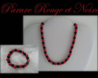 Set black and red pearls Collection Intense