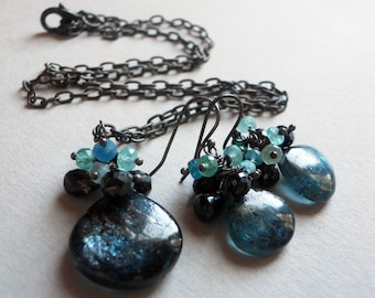 Moonlight Kiss kyanite, spinel, and apatite cluster necklace and earrings SET