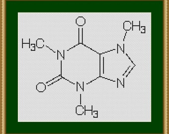 Caffeine molecule science nerd biology cross stitch pattern