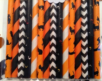 Kitty Cat paglia varietà Mix. cannucce di gatto. cannucce di carta. cannucce di Halloween. decorazione di Halloween. bastoncini di lecca-lecca. cannucce nere. nero e arancione