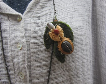 """PIN handmade """"coffee Ant"""" plant and mineral materials"""