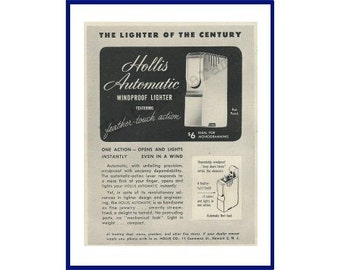 "HOLLIS LIGHTER Original 1946 Vintage Black & White Print Ad for a Hollis Automatic Windproof Lighter ""The Lighter of the Century"""
