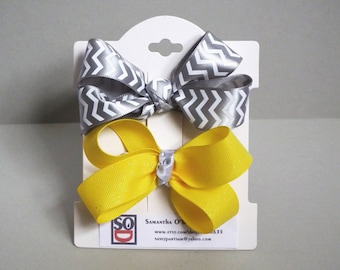 hair bows, satin hair ribbons, gift for girl. Classic hair bows. yellow and gray
