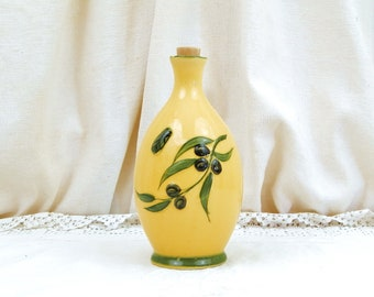 Vintage French Ceramic Yellow Provencals Mediterranean Olive Oil Bottle Branch and Cicada Pattern, Traditional Pottery South of France