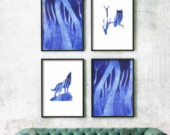 art prints, blue art prints watercolour art set, prints