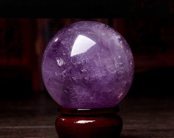 High Quality Natural Violet Amethyst Sphere/Hand Carved Brazil Amethyst Ball/Amethyst Crystal/#BJ-S80323P603-1