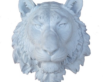 White Bengal Tiger Head Mount Wall Statue. Faux Taxidermy Fake Bengal Tiger Head.