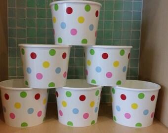 High Quality Yogurt Cups, Pack of 12- Twelve 16 oz. Ice Cream Cups with Polka Dots