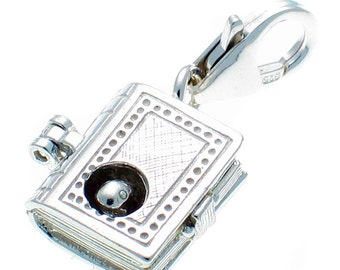 Welded Bliss Sterling 925 Silver Clip On Charm Book Opening to Bookworm WBC1327