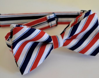Mens bow ties,red white and blue,cotton bow ties,mens ties