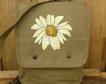 Grunge Daisy on Canvas Messenger Bag - Ipad Tablet Tech Bag - Hand Painted