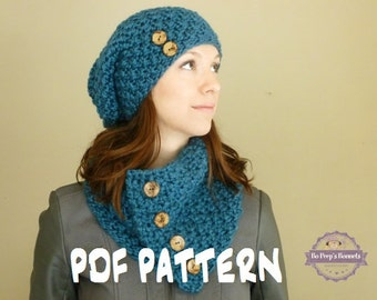 KNITTING PATTERN Beanie and Scarf - Slouch Hat and Cowl Knit Pattern - Knit Hat Pattern - Knit Scarf Pattern - The Monroe Set