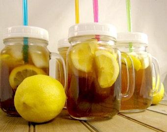 SALE Set of Four Mason Jar Mug Drinking Jar Tumbler with Lid & Straw Growler To Go Travel Mug Cup Earth Day