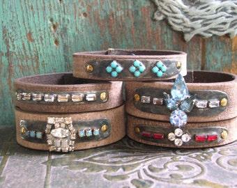 Rhinestone and leather bracelet - Gypsy Jewels - Boho jewelry, country cowgirl glam, ruby, bohemian cuff, artisan jewelry by 3 Divas Studio