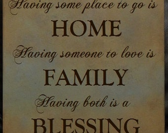 """HOME FAMILY BLESSING, Family Sign, Home Sign, Inspirational Sign 14"""" x 14"""" SignsbyDenise"""