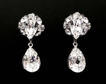 christmas prom bridal wedding bridesmaid gift Swarovski clear fancy marquise round cluster crystal rhinestone silver teardrop post earrings