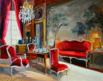 Original Oil Painting of CHATEAU DU CHAMPS, French interior, red and grey, beautiful sitting room