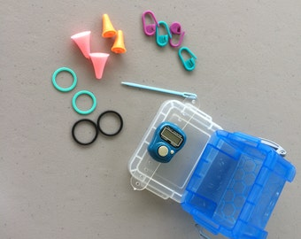 Notions, Stitch Markers, LCD Row Counter, Needle Protector Tips, Tapestry Needle, Really Handy Box of Hand Knitting Notions, Plastic Box