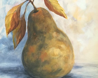"""Autumn Pear  6"""" x 6"""" Original Pear Still Life Painting by Torrie Smiley"""