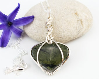 Green Stone Pendant - Wire Wrapped Pendant - Sierra River Rock - Gift For Her - Green Stone Jewelry - Wire Wrap Jewelry