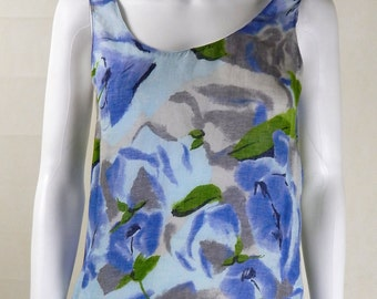 Original Vintage 1980s Chloe Floral Camisole Top UK Size 10/12