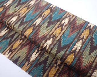 """Southwestern Stripe, Southwest Fabric, Brown & Teal Striped Fabric, 44"""" wide, by the half yard, 100% Quilting Cotton by David Textiles"""