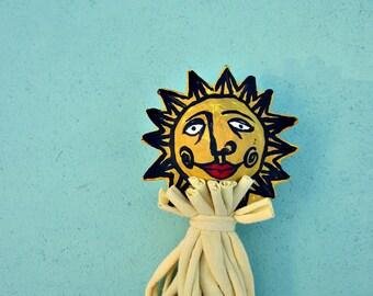 Papier mâché soleil Stick marionnettes Decor Accent jouet: Frère Soleil
