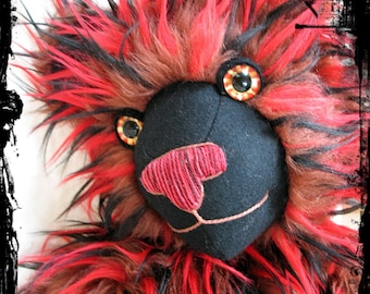 """SALE! marked extra 15% OFF! Nitro! Large 24"""" long tri color flaming fur artist teddy bear super floppy by Karen Knapp of Tindle Bears"""