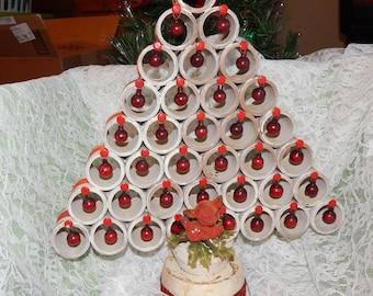 Antique Handmade Primitive Folk Art Christmas Tree Wood Base , Flocked deer, Cardboard rings.Glass ornaments