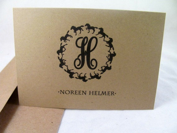 Monogrammed Note for the Horse Lover-Box Set 10  Cards