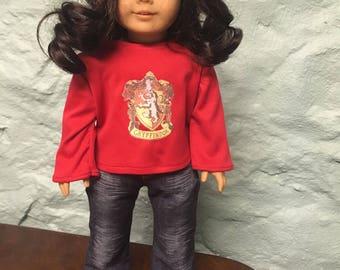 Gryffindor Doll Shirt, Harry Potter doll clothes, Hogwarts Doll clothes, Gryffindor doll clothes, doll shirt, 18 inch doll clothes
