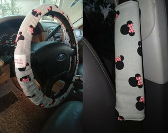 Minnie Mouse Car Accessories~ Steering Wheel Cover, Seat Belt Covers Handmade