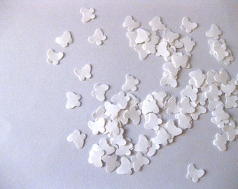 Mini Butterfly Confetti White Butterfly Punch Outs - Set of 100