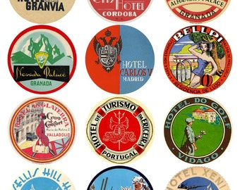12 vintage luggage labels - Spain, Portugal and Greece