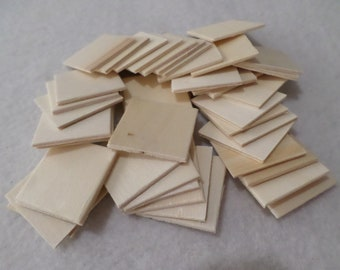 Unfinished wood squares, medium, 40 pieces, for wood crafts, kids crafts