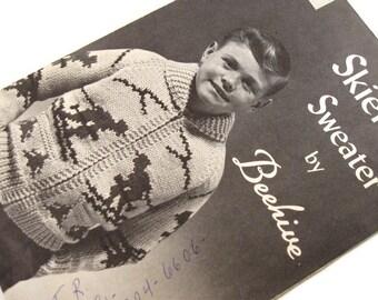 Vintage Beehive no 47 Skier Sweater Knitting Pattern Zip Front Jacket Sizes 8-10-12
