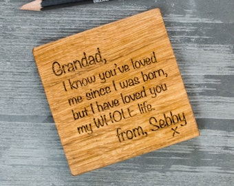 Letter To Coaster - Father's Day Gift - Gift for Dad - Gift for Grandad - Wooden Coaster - Personalised Gift - Gift From Younger Children