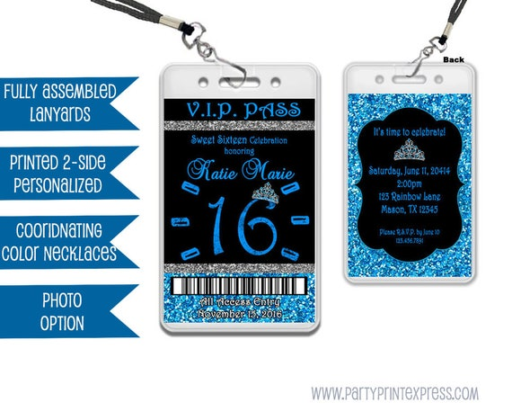 Blue Sweet 16 VIP Pass Lanyard Invitations Blue Glitter