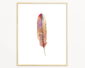 Pink Feather Art Print. Pink Watercolor Feather Painting. Lods Room Art. Modern Minimalist Nature Art. Single Feather Art Print.