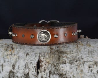 4. Spiked 100% Real Leather Dog Collar